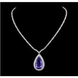 GIA Cert 35.68 ctw Tanzanite and Diamond Necklace - 14-18KT White Gold
