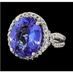 8.44 ctw Tanzanite and Diamond Ring - 14KT White Gold