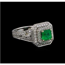 14KT White Gold 0.83 ctw Emerald and Diamond Ring