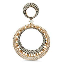 18k Rose Gold 3.33CTW Diamond and Brown Diamonds Pendant, (VS2/F-G)