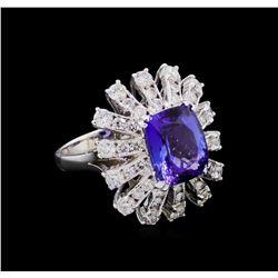 14KT White Gold 4.46 ctw Tanzanite and Diamond Ring