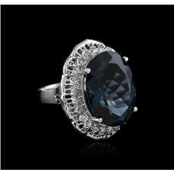 14KT White Gold 20.83 ctw Topaz and Diamond Ring