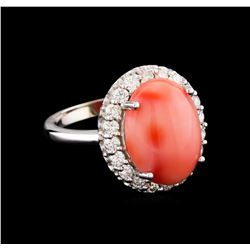 6.50 ctw Pink Coral and Diamond Ring - 14KT White Gold