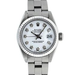 Rolex Ladies Stainless Steel White Diamond 26MM Oyster Band Datejust Wristwatch