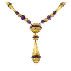 20.00 ctw Amethyst Hand-made Vintage Necklace - 18KT Yellow Gold
