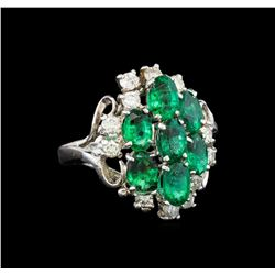 14KT White Gold 2.55 ctw Emerald and Diamond Ring