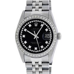 Rolex Mens Stainless Steel Black String Diamond 36MM Datejust Wristwatch
