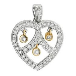14k Two Tone Gold 0.50CTW Diamond Pendant, (I2 /H-I)