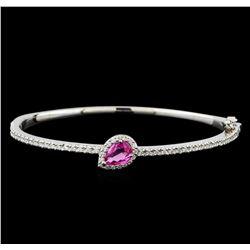 1.08 ctw Pink Sapphire and Diamond Bracelet - 14KT White Gold