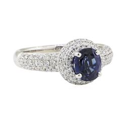 1.94 ctw Sapphire and Diamond Ring - 18KT White Gold