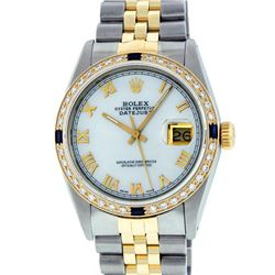 Rolex Mens 2 Tone 14K Mother Of Pearl Diamond & Sapphire 36MM Datejust Wristwatc