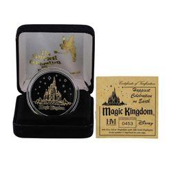 Limited Edition Disney Magic Kingdom .999 Fine Silver Medal w/ 24K Gold Highligh