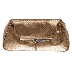 Fendi Rose Gold Snakeskin Small Clutch Handbag