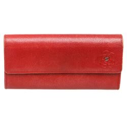 Chanel Red Leather Camelia CC Flap Long Wallet