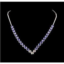 14KT White Gold 16.08 ctw Tanzanite and Diamond Necklace