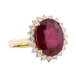 9.18 ctw Ruby and Diamond Ring - 14KT Yellow Gold