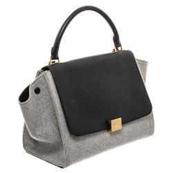Celine Gray Wool Black Leather Medium Trapeze Bag