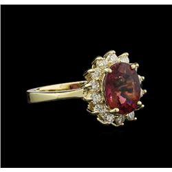 2.11 ctw Pink Tourmaline and Diamond Ring - 14KT Yellow Gold