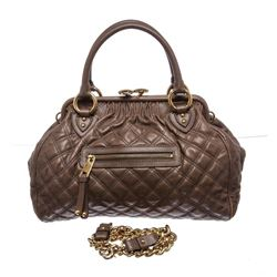 Marc Jacobs Taupe Quilted Leather Stam Satchel Handbag