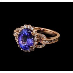 3.59 ctw Tanzanite and Diamond Ring - 14KT Rose Gold