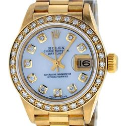 Rolex Ladies 18K Yellow Gold Mother Of Pearl Diamond President Wristwatch With R