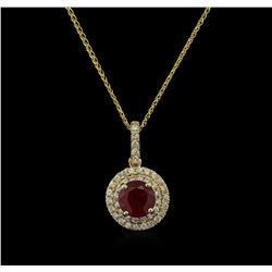 2.24 ctw Ruby and Diamond Pendant With Chain - 14KT Yellow Gold