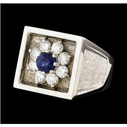 1.71 ctw Sapphire and Diamond Ring - 14KT White Gold