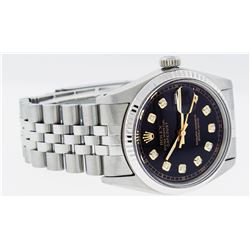 Rolex Mens Stainless Steel 36MM Black Diamond Datejust Wristwatch