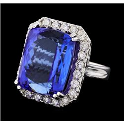 GIA Cert 32.86 ctw Tanzanite and Diamond Ring - 14KT White Gold