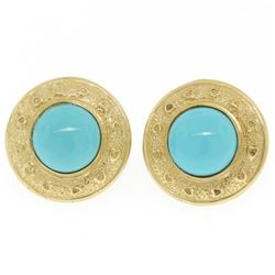 14k Yellow Gold Round Bezel Set Turquoise Button Earrings