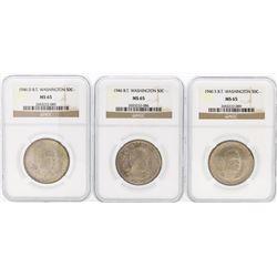 Set of (3) 1946/D/S Booker T. Washington Memorial Half Dollar Coins NGC MS65