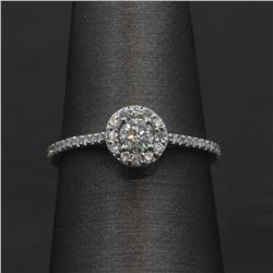 0.43 ctw Diamond Engagement Ring - 14KT White Gold