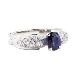 2.81 ctw Sapphire And Diamond Ring - 18KT White Gold