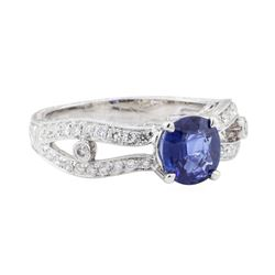 1.88 ctw Sapphire and Diamond Ring - 18KT White Gold