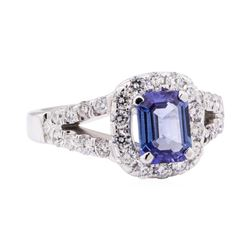 1.89 ctw Blue Sapphire And Diamond Ring - 18KT White Gold
