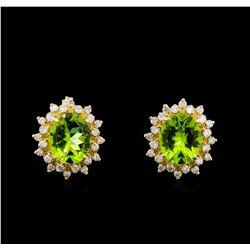 8.00 ctw Peridot and Diamond Earrings - 14KT Yellow Gold