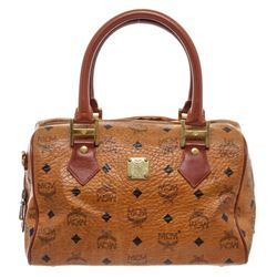 MCM Tan Cognac Visetos Brown Leather Trim Vintage Boston Bag