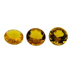 14.61 ctw.Natural Round Cut Citrine Quartz Parcel of Three