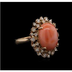 9.15 ctw Coral and Diamond Ring - 14KT Rose Gold