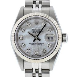 Rolex Ladies Stainless Steel Mother Of Pearl Diamond Quickset Datejust Wristwatc