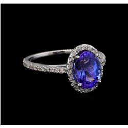 2.35 ctw Tanzanite and Diamond Ring - 14KT White Gold