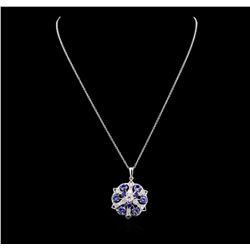 2.88 ctw Tanzanite, Sapphire and Diamond Necklace - 14KT White Gold