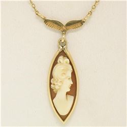 14k Yellow Gold Marquise Carved Shell Cameo Fish Collier Choker Necklace