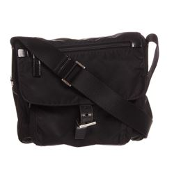 Prada Black Nylon Leather Crossbody Flap Bag