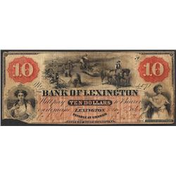 1860 $10 Bank of Lexington North Carolina Obsolete Note