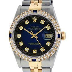 Rolex Mens 2 Tone 14K Blue Vignette Diamond & Sapphire Datejust Wristwatch