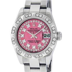 Rolex Ladies Stainless Steel Quickset Pink String Diamond Datejust Wristwatch