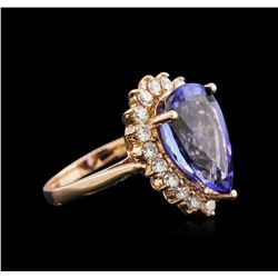 7.52 ctw Tanzanite and Diamond Ring - 14KT Rose Gold