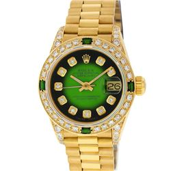 Rolex Ladies 18K Yellow Gold Green Vignette Diamond And Emerald President Wristw