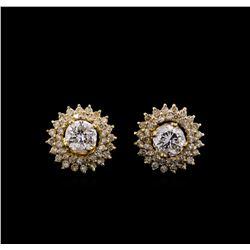 2.46 ctw Diamond Earrings - 14KT Yellow Gold